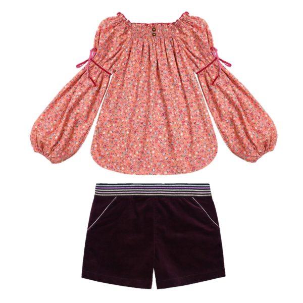 Ensemble blouse fleurie liberty abricot et short en velours milleraies bordeaux pour filles de 2 à 14 ans