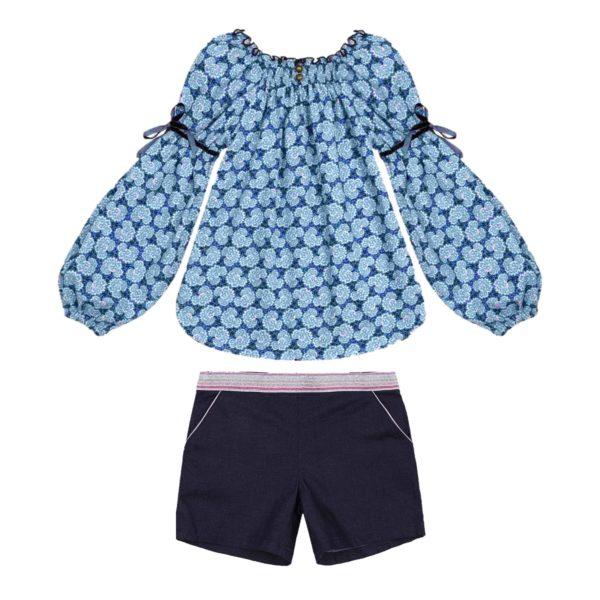 Ensemble blouse fleurie liberty orange et short en jean denim bleu pour filles de 2 à 14 ans