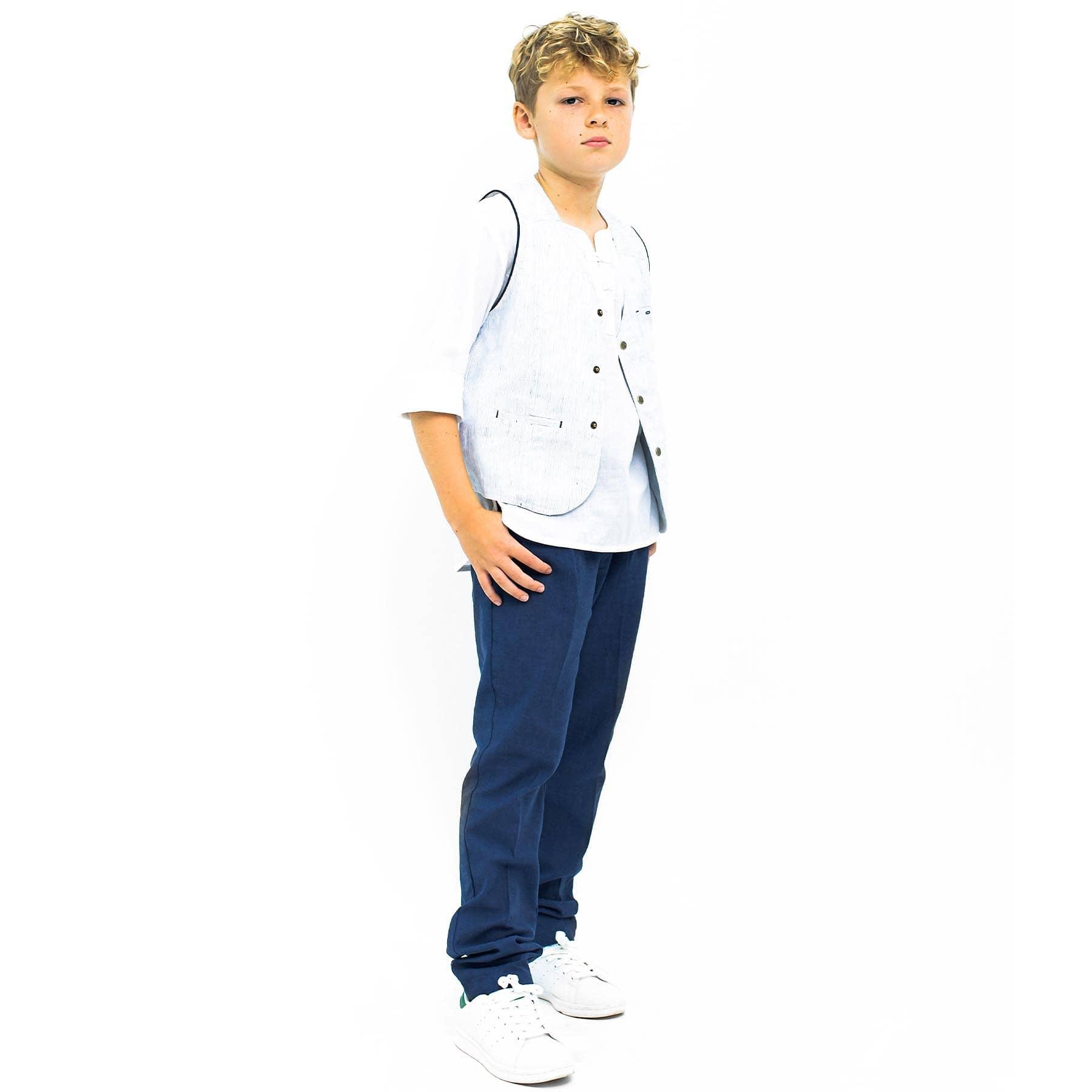 Pantalon de costume à pinces coupe carotte en lin bleu foncé avec poches pour garçons de 2 à 14 ans