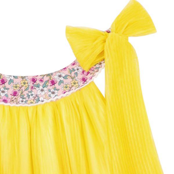 robe de cérémonie jaune avec col liberty fleurs liberty rose et noeud sur l'épaule pour petites filles et ados de 2 à 16 ans