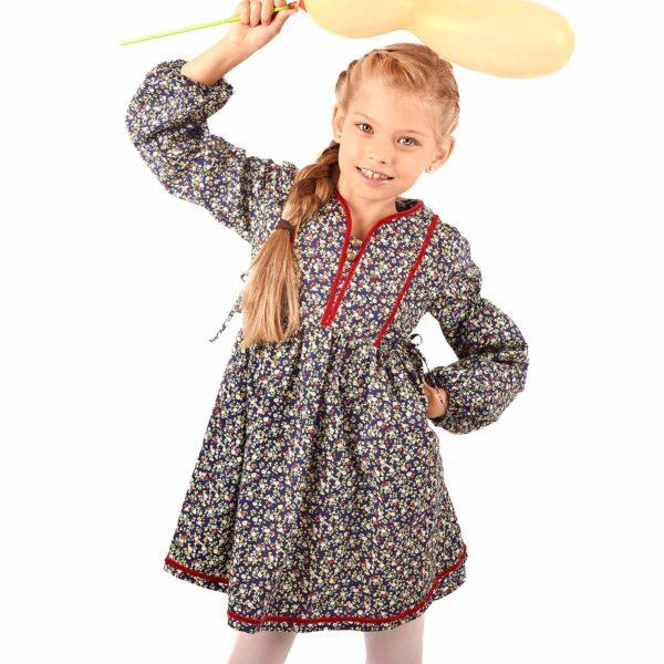 robe intersaison coton bleu marine fleuri liberty rouge avec plastron avant matelassé et ruban rouge pour petites filles de 2 à 12 ans