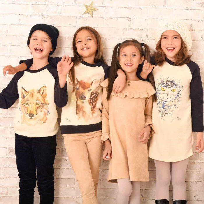 Robe, sweat-shirt, pantalon beige imprimé animal totem pour filles de 2 à 12 ans