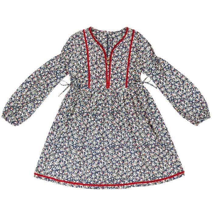 Robe matelassée en coton fleuri liberty bleu marine et rouge avec col tunisien bordé de velours rouge et manches ballon pour filles de 2 à 14 ans