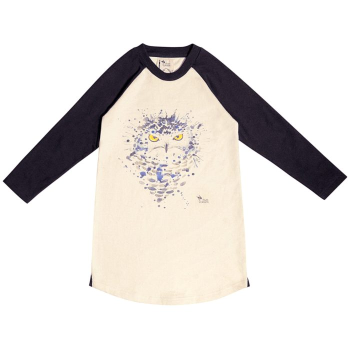 Robe sweat shirt en coton molletonné beige et noir avec dessin imprimé chouette/hibou bleu et jaune pastel pour filles de 2 à 12 ans