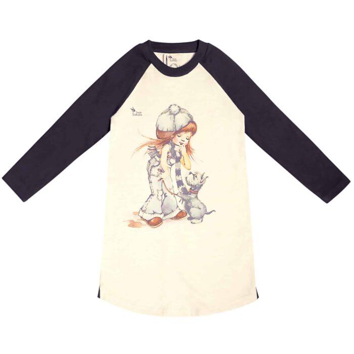 Robe sweat shirt en coton molletonné beige et noir avec dessinstyle Poulbot d'une petite fille avec un chien pour filles de 2 à 12 ans