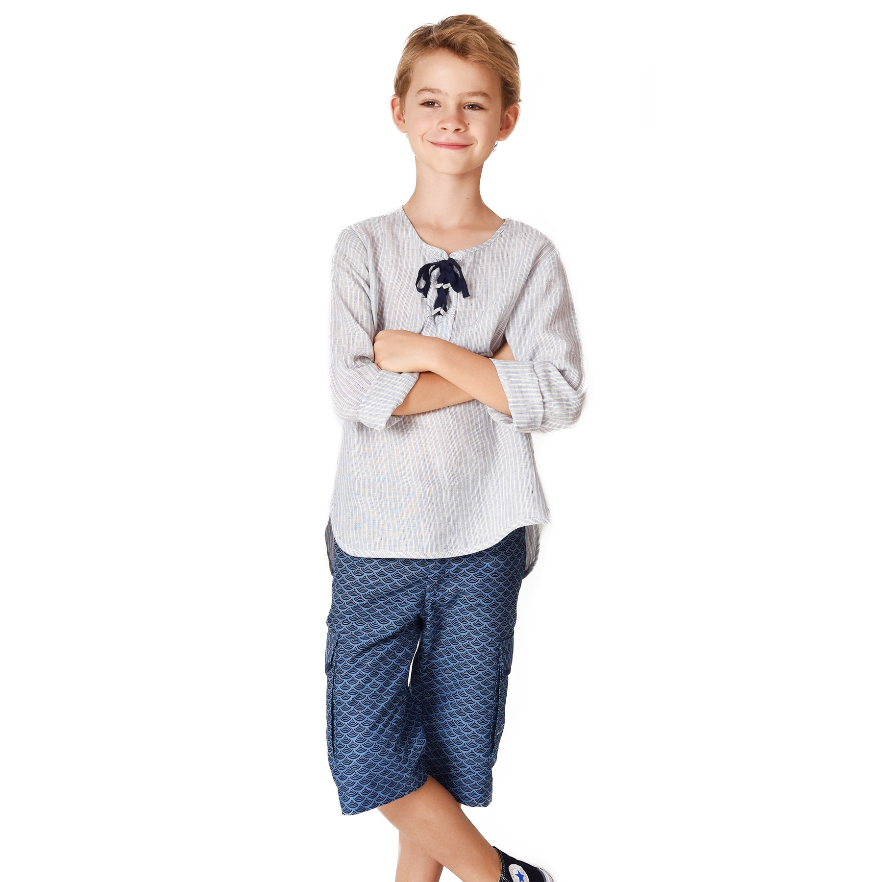Short bermuda en coton imprimé écailles bleu marine avec poches cargo et taille élastique pour garçons de 2 à 14 ans