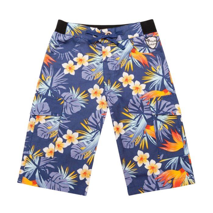 Short bermuda en coton imprimé bleu fleurs hawaïennes avec poches cargo et taille élastique pour garçons de 2 à 14 ans