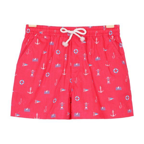 Short de bain rouge avec imprimés marins (ancres, bateaux...) pour garçons de 2 à 14 ans