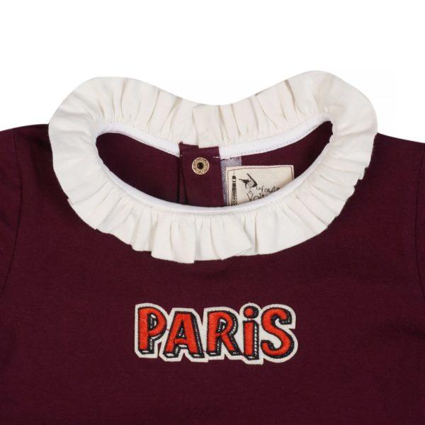 tee-shirt écusson Paris en coton jersey rouge bordeaux avec col froufrou blanc. Pour petites filles de 2 à 12 ans