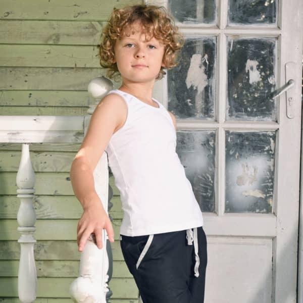 """Tee-shirt sans manches façon """"débardeur marcel"""" en coton blanc pour garçons de 2 à 14 ans"""