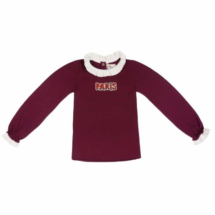 """Tee-shirt manches longues en jersey prune avec broderie """"Paris"""" et col froufrou blanc pour filles de 2 à 14 ans"""