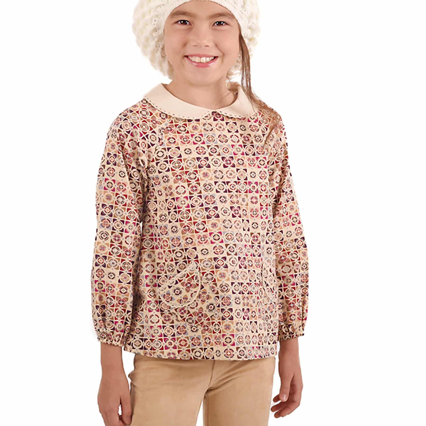 Blouse manches longues à col Claudine en coton imprimé graphique beige et bordeaux pour filles de 2 à 12 ans