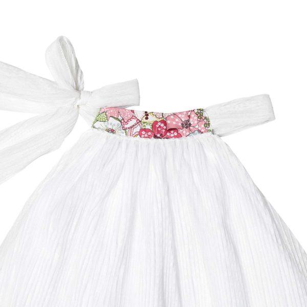 robe blanche de cérémonie avec col fleuri liberty rose rouge pour filles de 2 à 16 ans