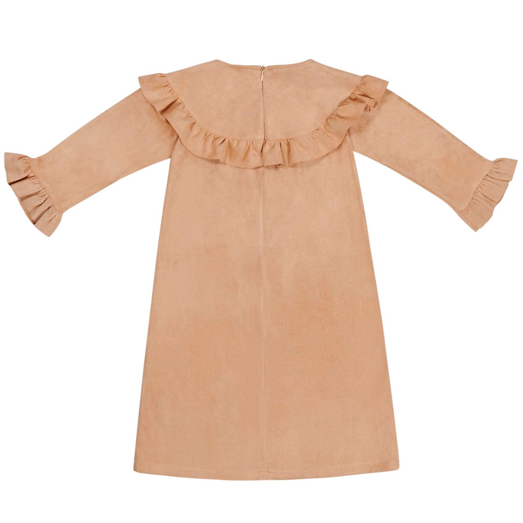 Robe d'inspiration costume indien en imitation daim beige avec volants aux poignets et à la poitrine pour filles de 2 à 12 ans
