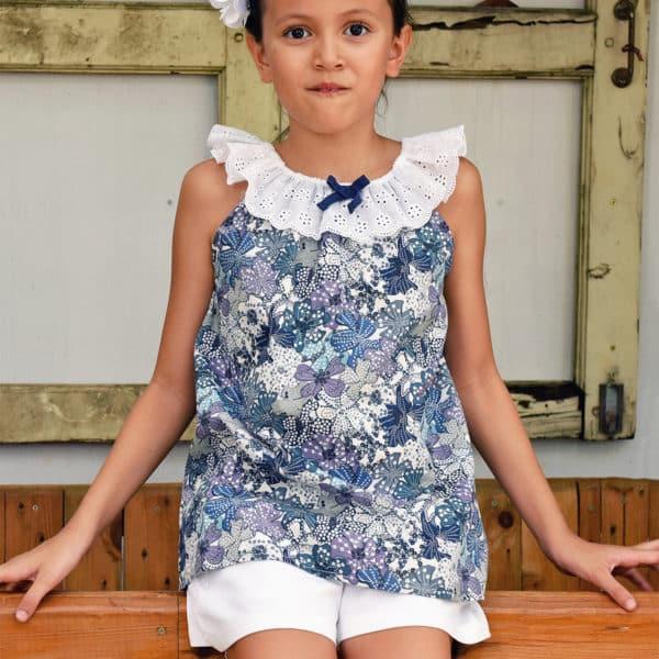 Blouse d'été bohème en coton liberty bleu et lila avec col élastique en broderie anglaise pour filles de 2 à 14 ans