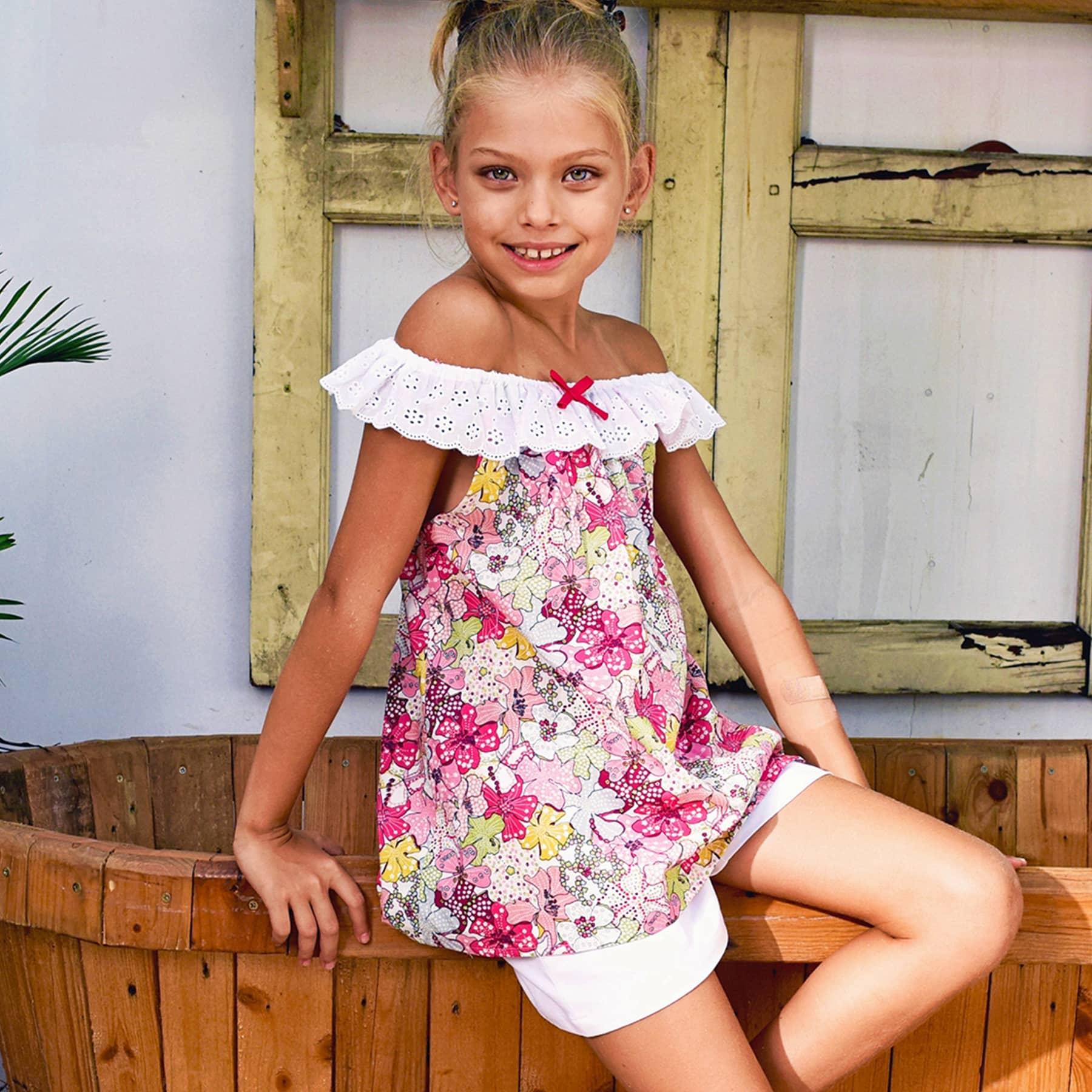 Blouse d'été bohème en coton liberty rose et multicolore avec col élastique en broderie anglaise pour filles de 2 à 14 ans
