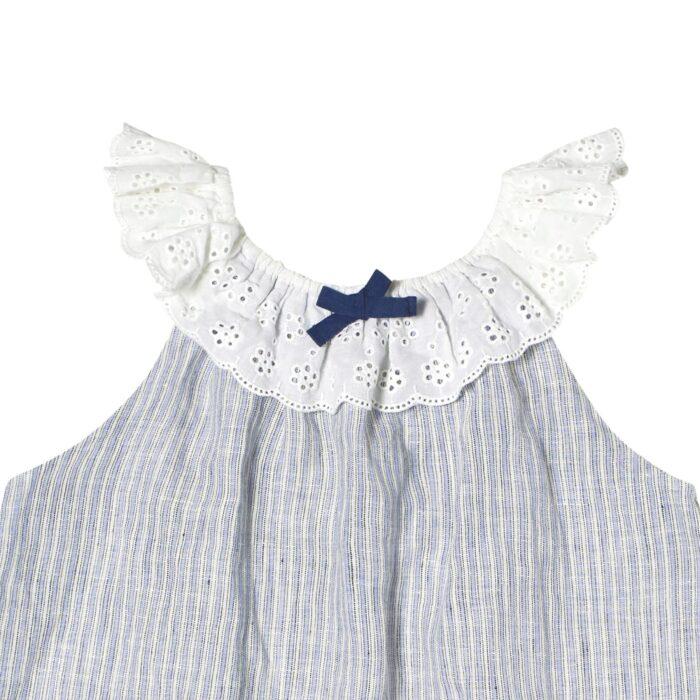 Blouse d'été bohème en coton rayé bleu clair et blanc avec col élastique en broderie anglaise pour filles de 2 à 14 ans