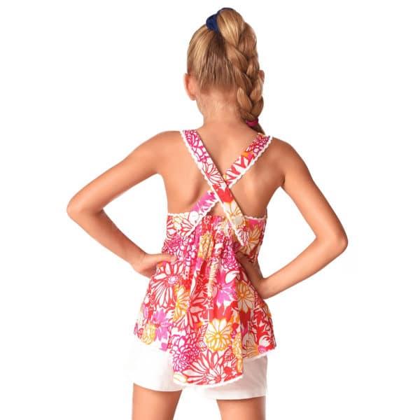 Blouse d'été en coton fleuri liberty rose orange violet et rouge bordé de fine dentelle blanche avec bretelles croisées dans le dos pour filles de 2 à 14 ans