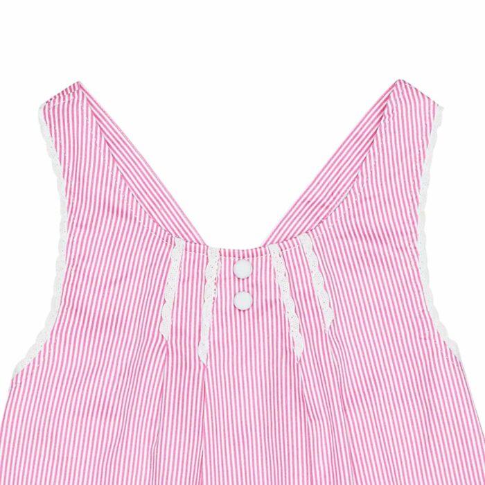 Blouse d'été en coton rayé rose bordé de fine dentelle blanche avec bretelles croisées dans le dos pour filles de 2 à 14 ans