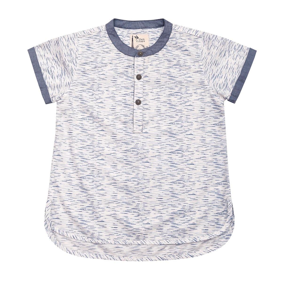 Chemise manches courtes en coton bleu et blanc avec col Mao contrasté bleu pour garçons de 2 à 14 ans