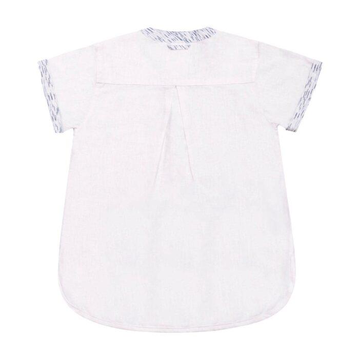 Chemise manches courtes en lin blanc avec col Mao contrasté bleu pour garçons de 2 à 14 ans