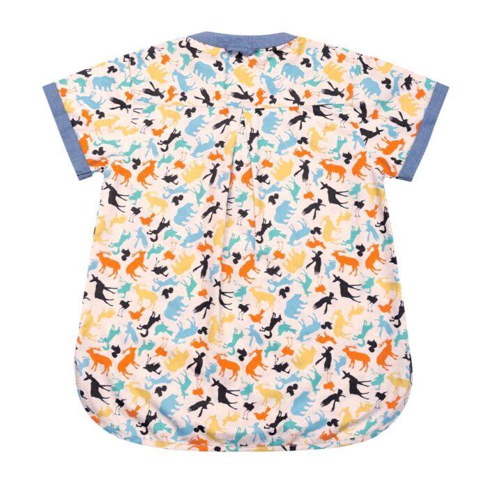 Chemise manches courtes en coton imprimé animaux multicolores avec col Mao pour garçons de 2 à 14 ans