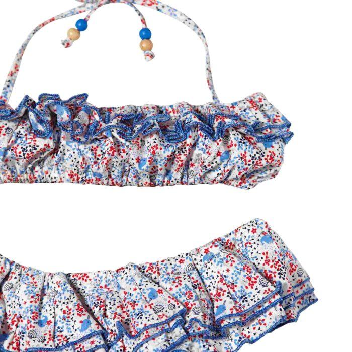 Maillot bikini plage 2 pièces à volants pour petite fille imprimé coquillage bleu et rouge pour filles