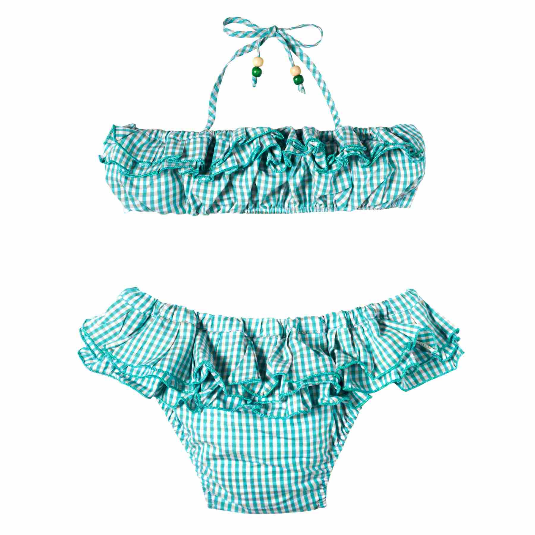 maillot bikini deux pièces à carreaux vichy vert blanc et gris pour petites filles de 2 à 12 ans