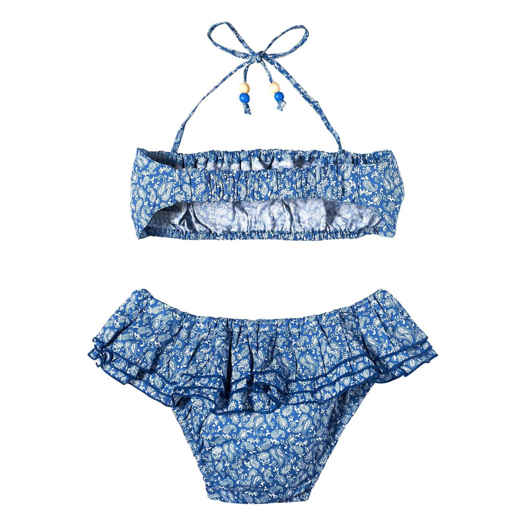 Maillot bikini plage 2 pièces à volants pour petites fille imprimé cachemire bleu marine et blanc pour filles