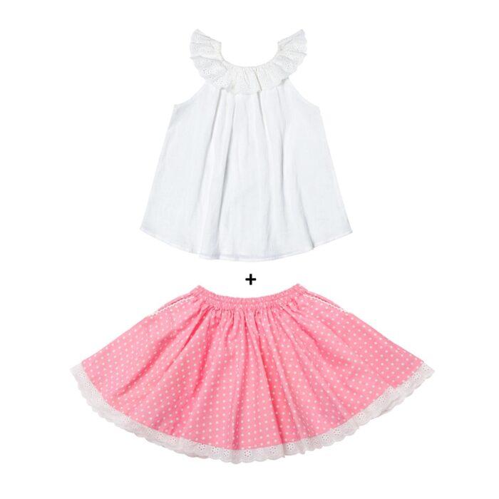 Ensemble cadeau fille blouse blanche col bardot en broderie anglaise et jupe en coton rose à pois blancs pour filles de 2 à 14 ans
