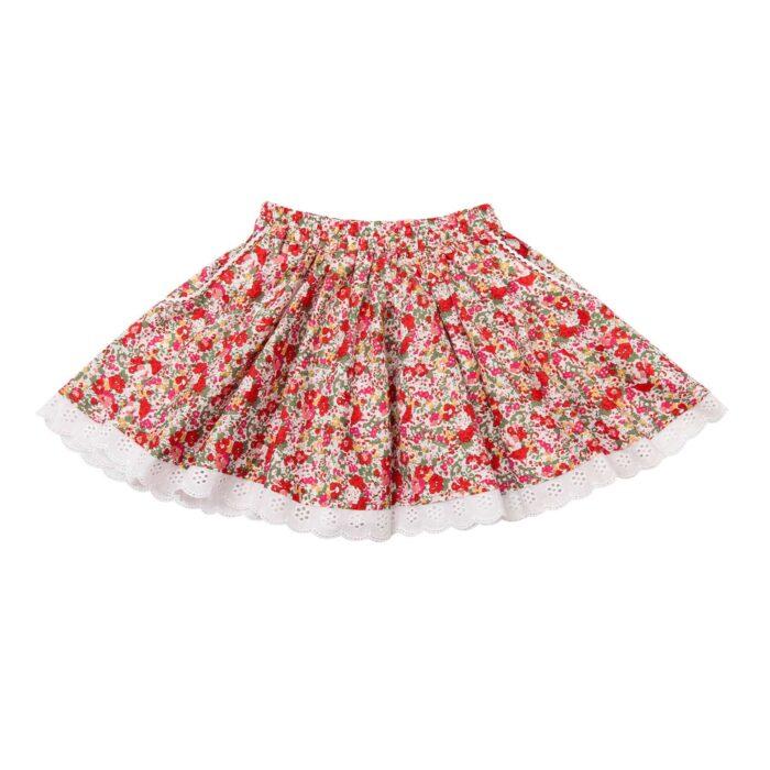 Jupe qui tourne en coton fleuri rouge avec dentelle blanche pour filles de 2 à 14 ans