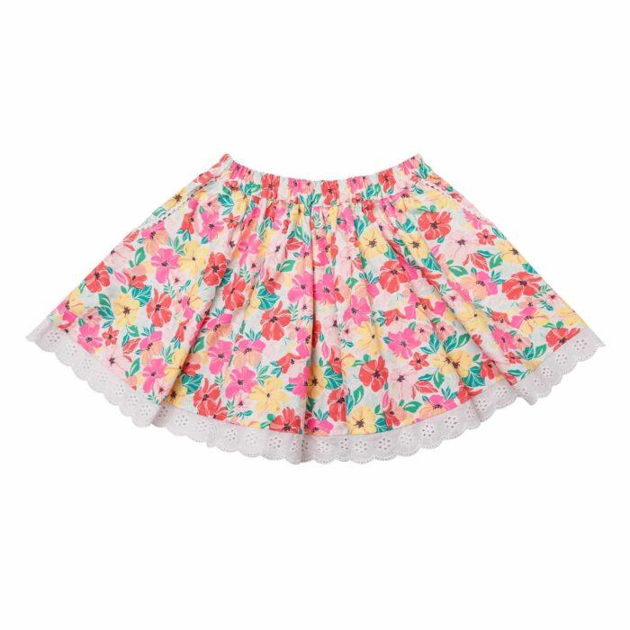 Jupe qui tourne en coton fleuri rose jaune et vert avec dentelle blanche pour filles de 2 à 14 ans