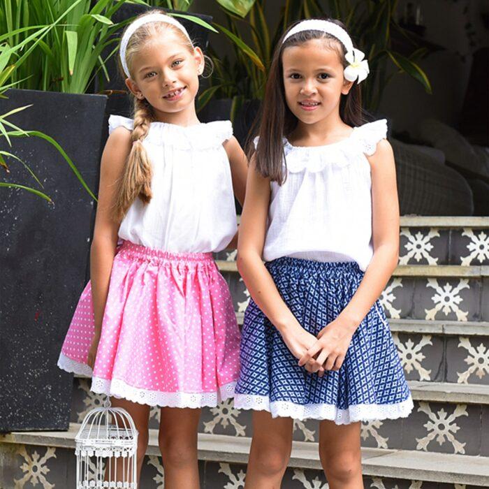 Jupe qui tourne en coton avec dentelle blanche et taille élastique pour filles de 2 à 14 ans