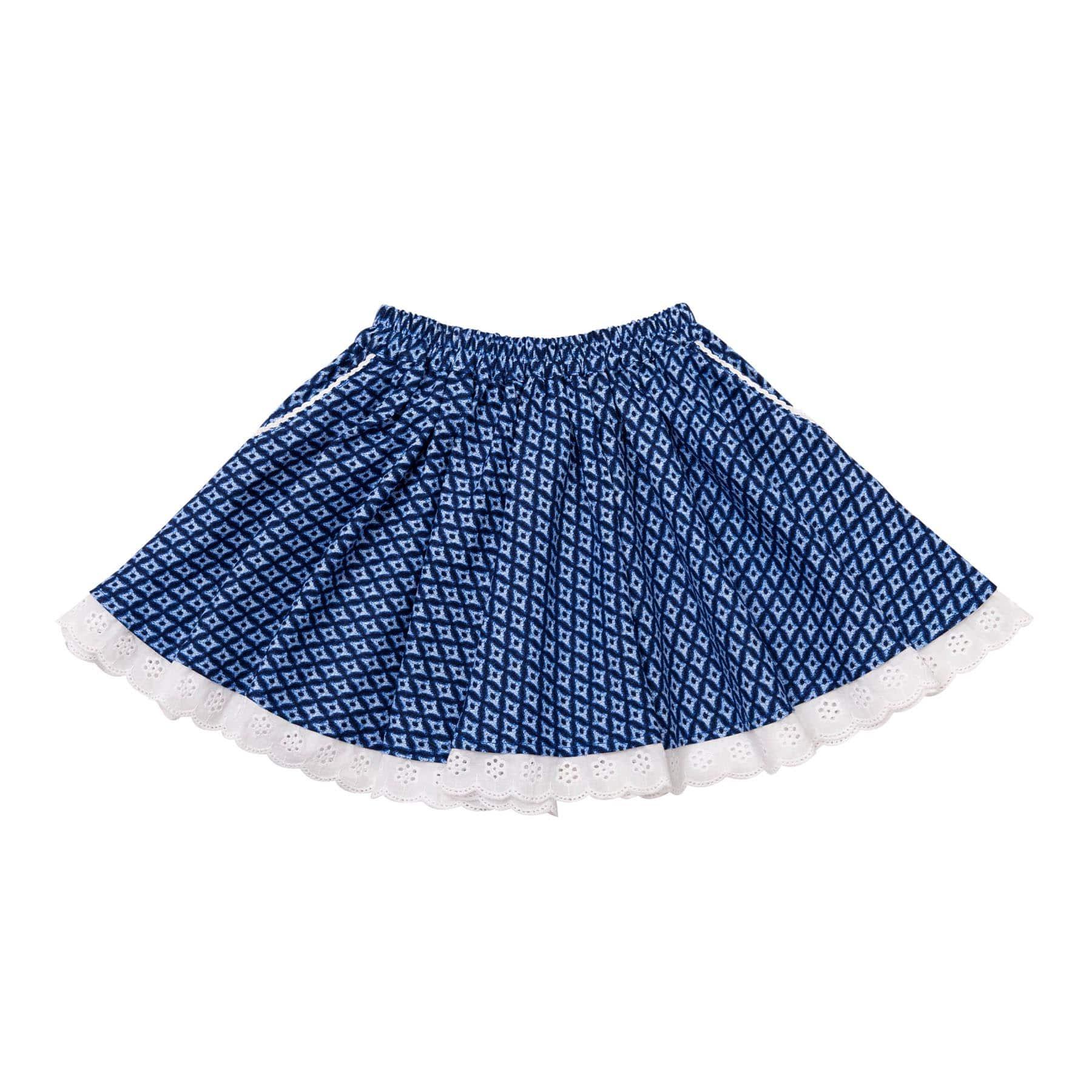 Jupe qui tourne en coton graphique bleu avec dentelle blanche pour filles de 2 à 14 ans