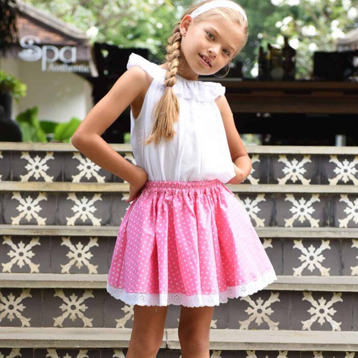 Jupe qui tourne en coton rose à pois blanc pour filles de 2 à 14 ans