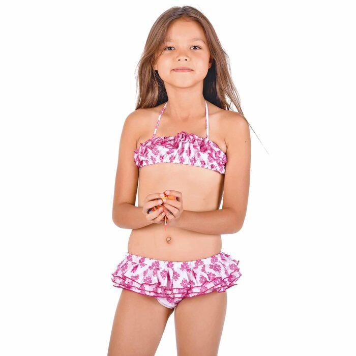 Maillot de bain bikini 2 pièces à volants en coton blanc et brodé rose fuchsia pour filles de 2 à 12 ans