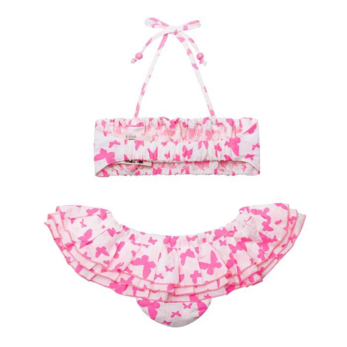 Maillot de bain bikini 2 pièces à volants en coton blanc et papillons rose fuchsia pour filles de 2 à 12 ans