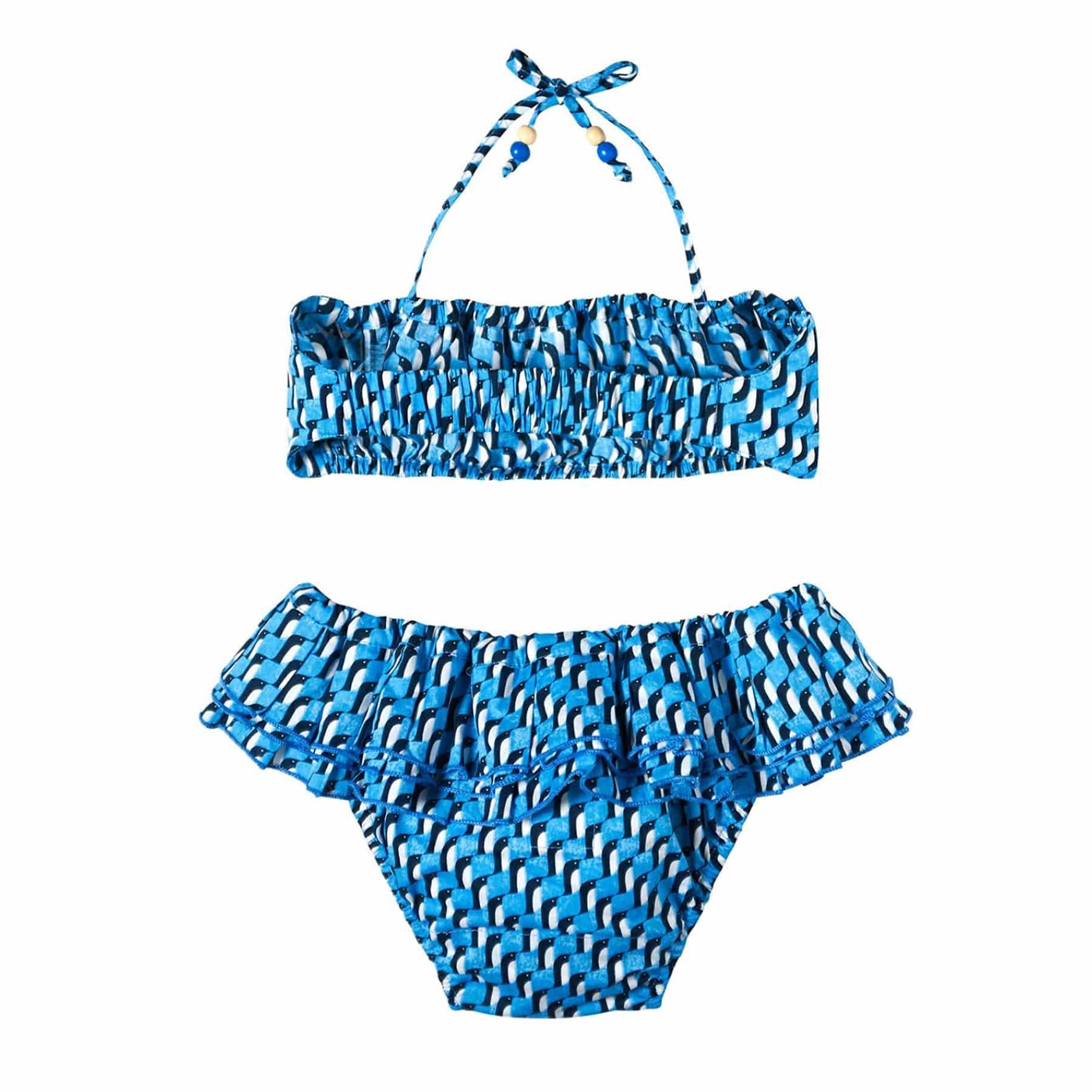 Maillot de bain bikini 2 pièces à volants imprimé cachemire bleu roi et blanc pour filles de 2 à 12 ans