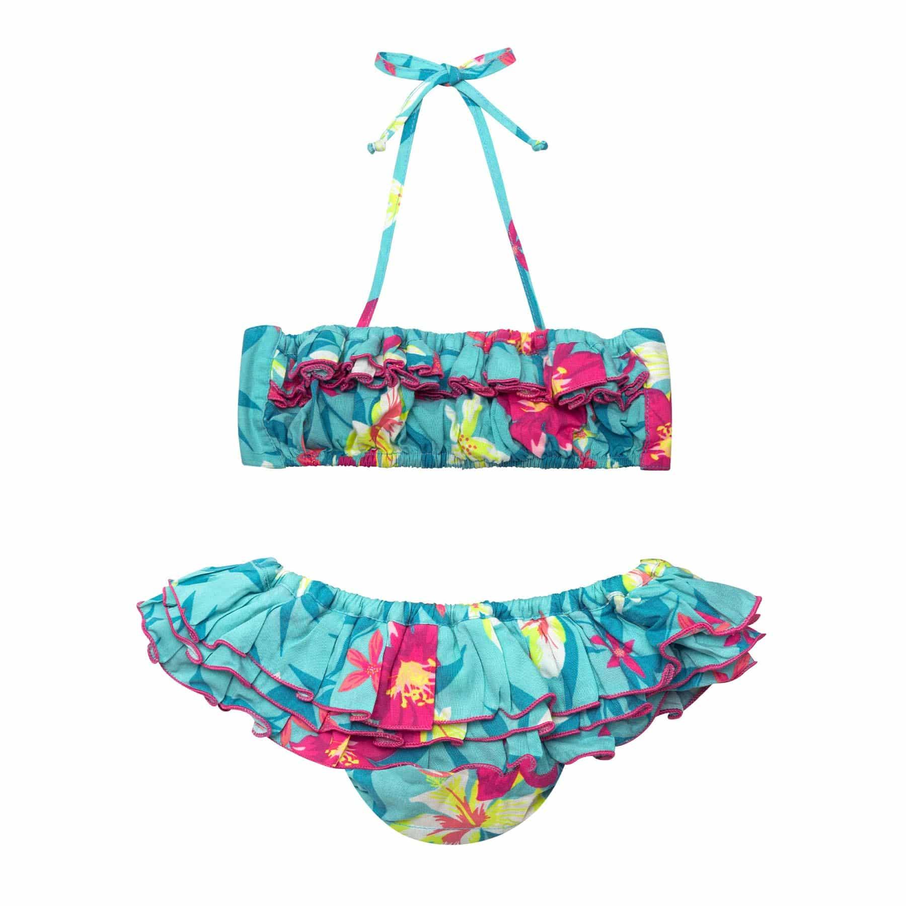 Maillot de bain bikini 2 pièces à volants en coton vert bleu turquoise et fleurs hawaïennes pour filles de 2 à 12 ans