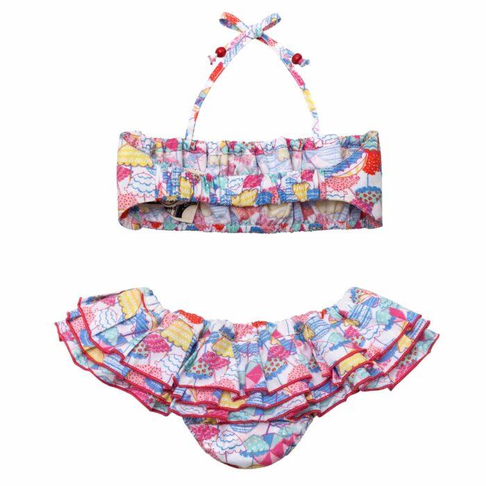 Maillot de bain bikini 2 pièces à volants en coton imprimé parasols rouges et bleus pour filles de 2 à 12 ans