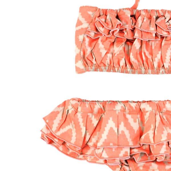 Maillot de bain bikini 2 pièces à volants en coton graphique orange pour filles de 2 à 12 ans