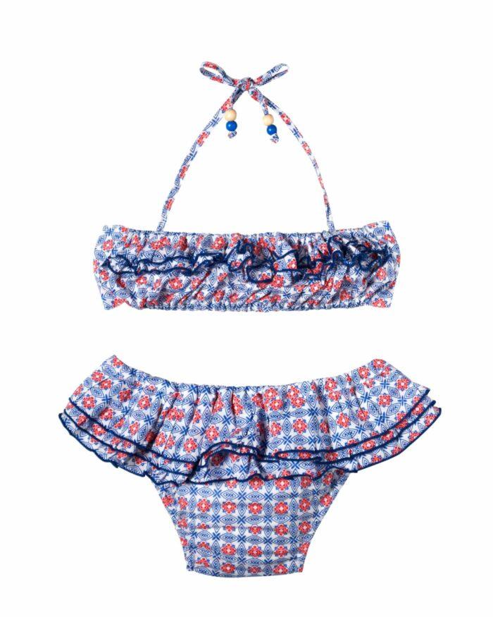 Maillot bikini plage 2 pièces à volants pour petites fille imprimé bleu, blanc, rouge