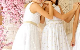robe de cortège et cérémonie blanche et or pour petites filles et ado de la marque de mode pour enfant LA FAUTE A VOLTAIRE