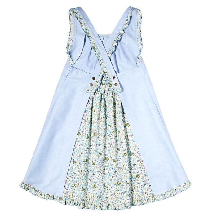 Robe trapèze été en coton bleu ciel et coton fleuri vert avec bretelles croisées à volants pour filles de 2 à 14 ans