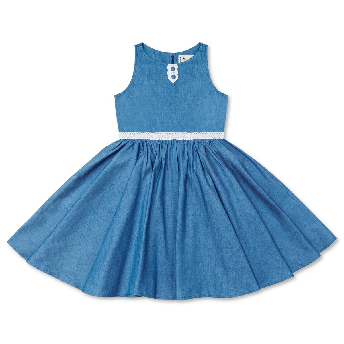 robe sans manche été fille en coton denim bleu clair à fine dentelle blanche mode française de 2 à 14 ans