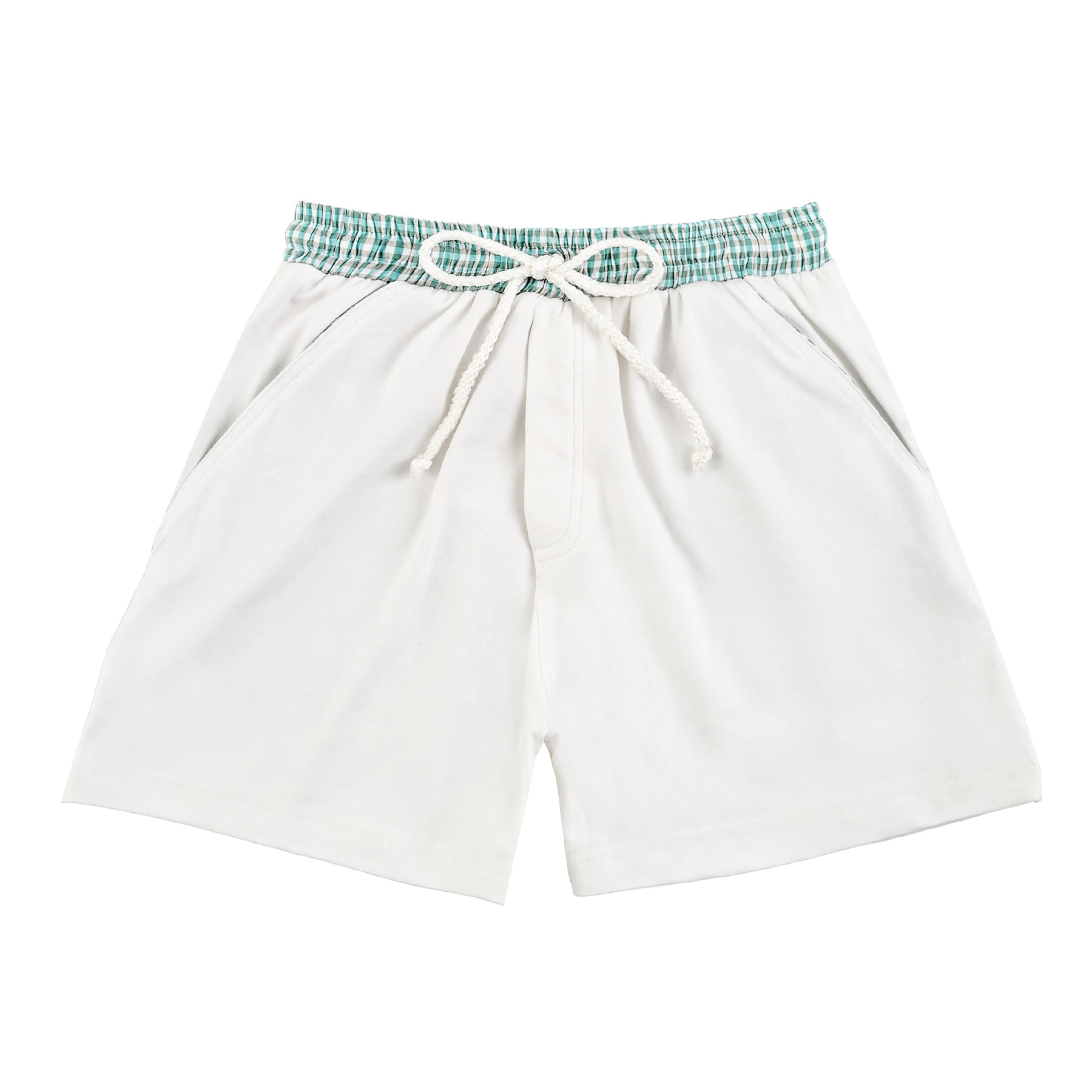 Short de bain blanc avec taille élastique et poche en coton vichy bleu pour garçons de 2 à 14 ans