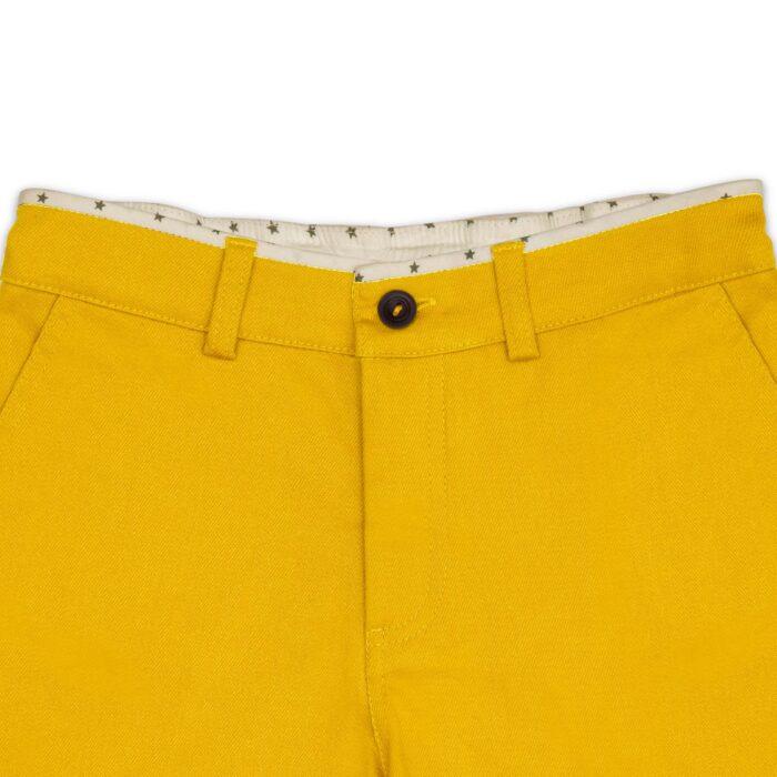 Short été style chino en coton jaune et doublure en coton étoilé pour les garçons de 2 à 14 ans