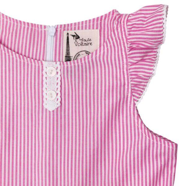 robe qui tourne à fines rayures rose et blanches pour petites filles et ados de 2 à 16 ans