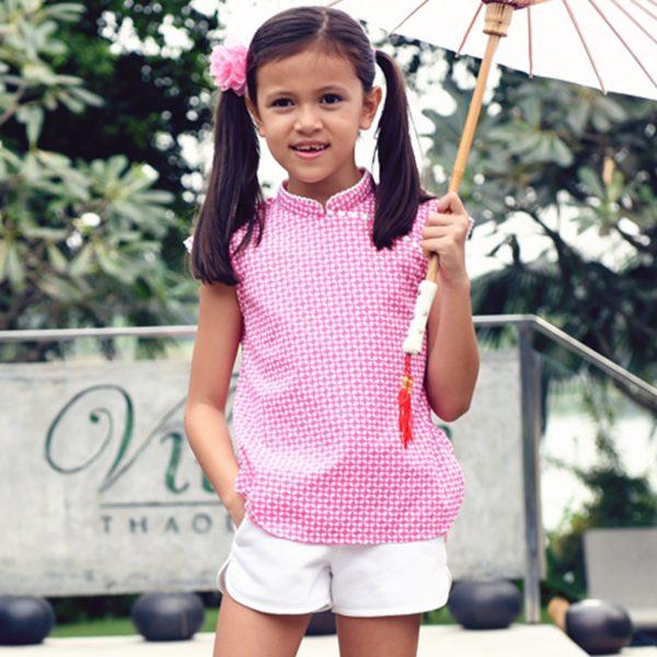 Blouse chinoise été en coton graphique rose fuchsia et blanc avec Col Mao et manches courtes bordés de pompons pour filles de 2 à 14 ans