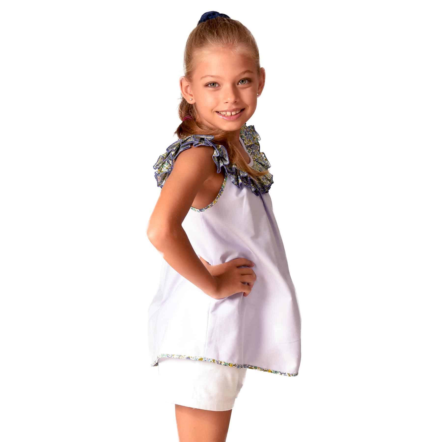Blouse sans manches en coton lilas avec col bateau à volants liberty vert et bleu pour filles de 2 à 12 ans